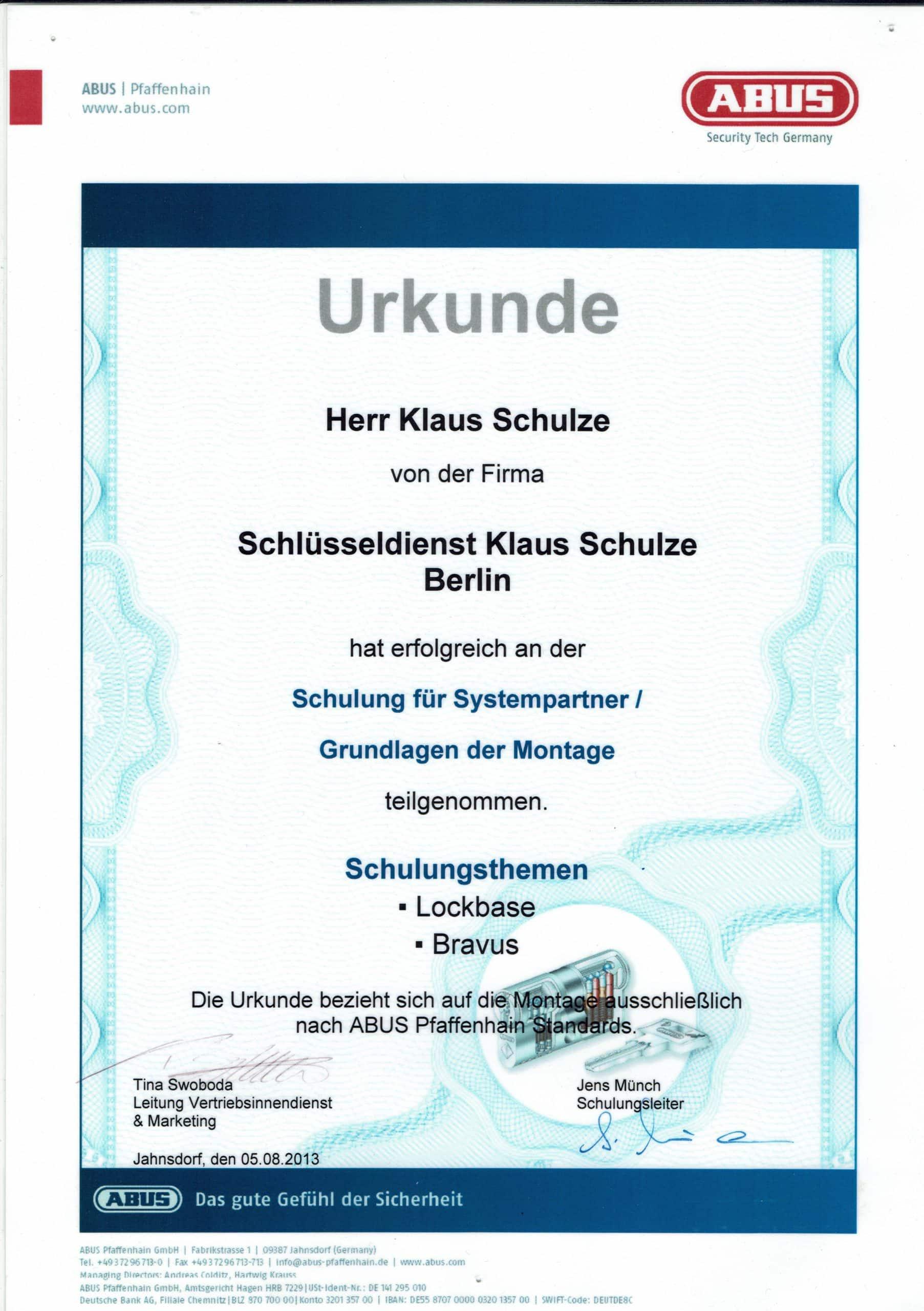 Zertifikat ABUS