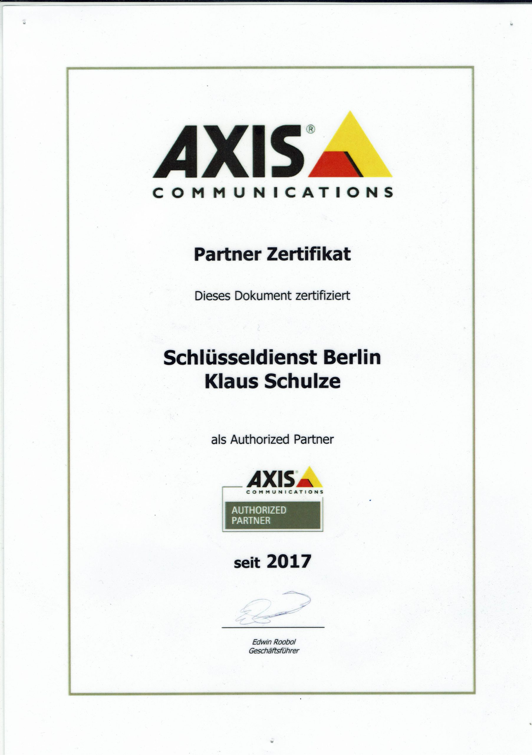Zertifikat AXIS