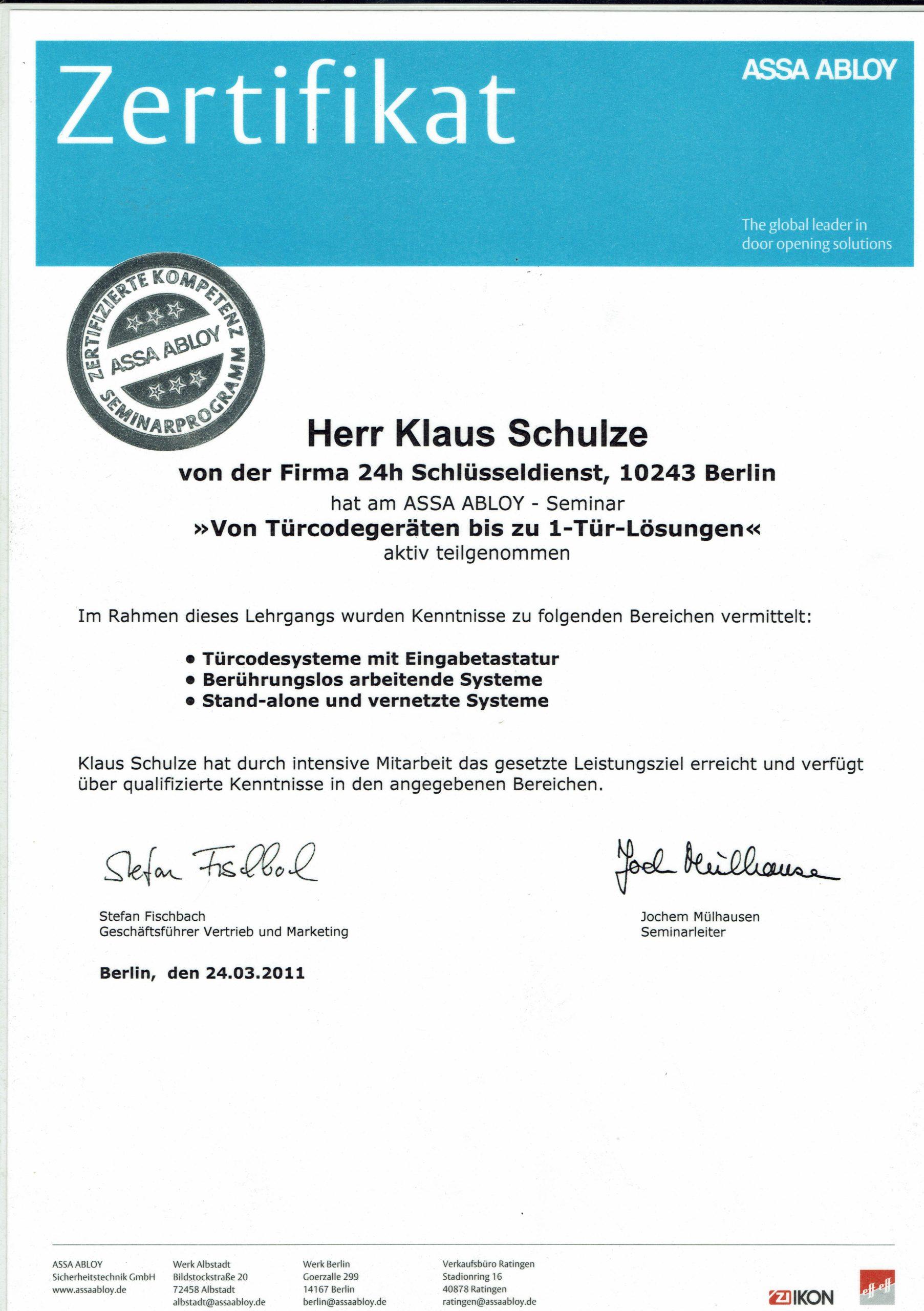 Zertifikat IKON Elektrozylinder