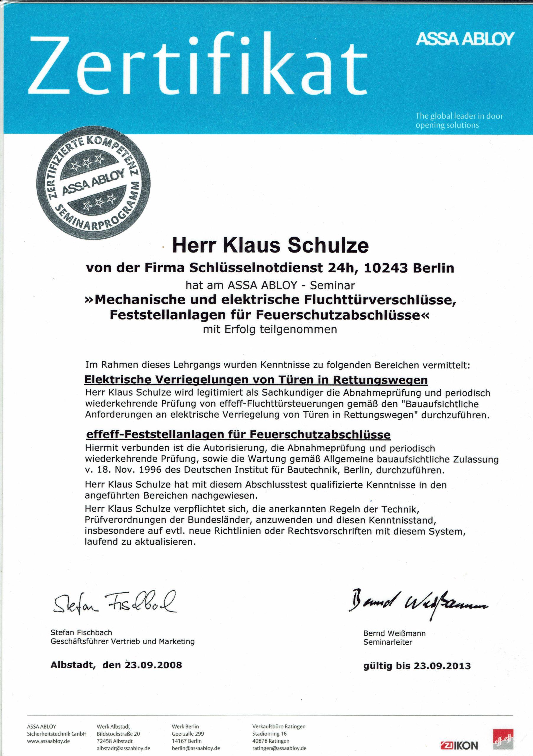 Zertifikat IKON Feuerschutztür