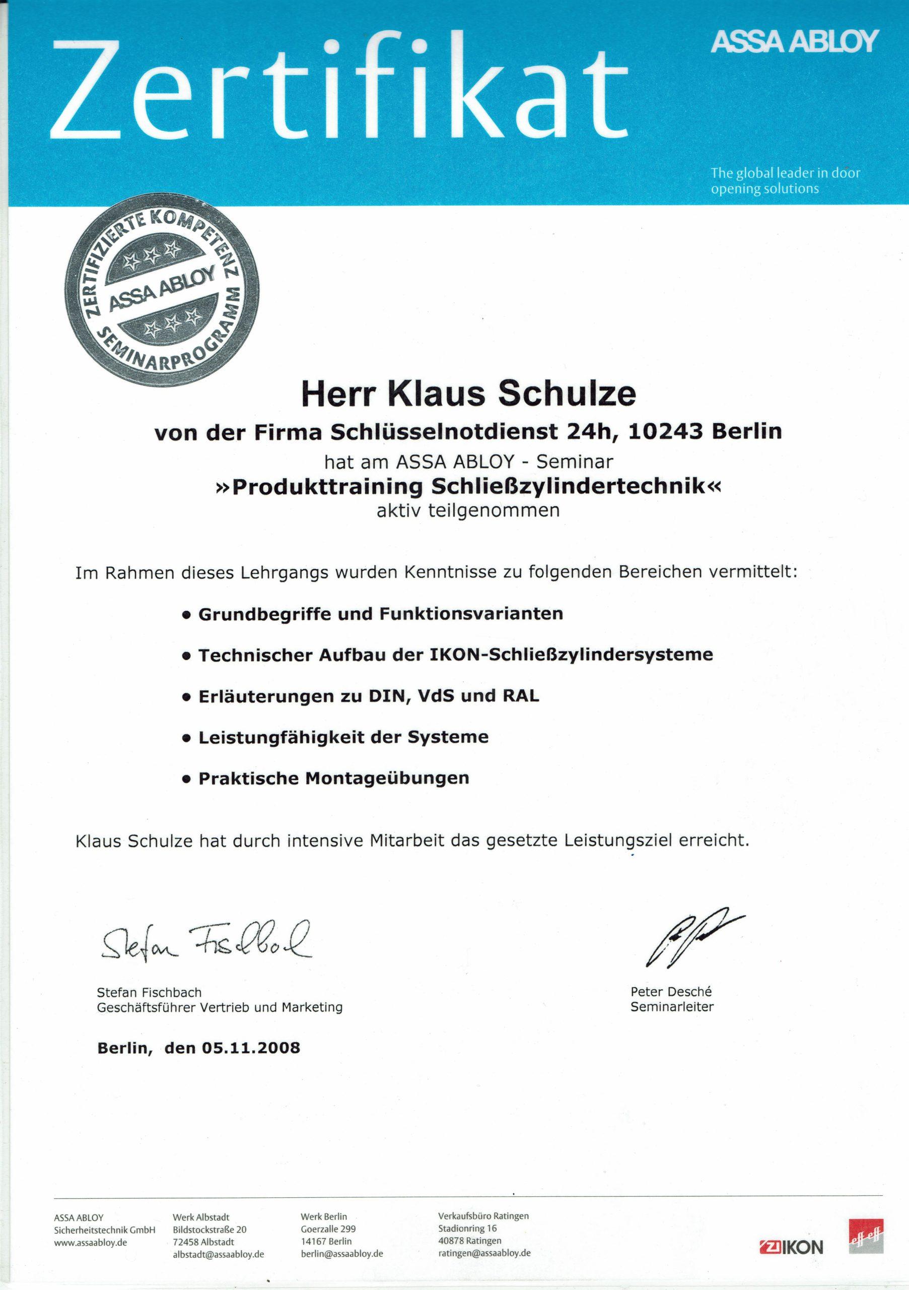 Zertifikat IKON Schließzylinder Technik