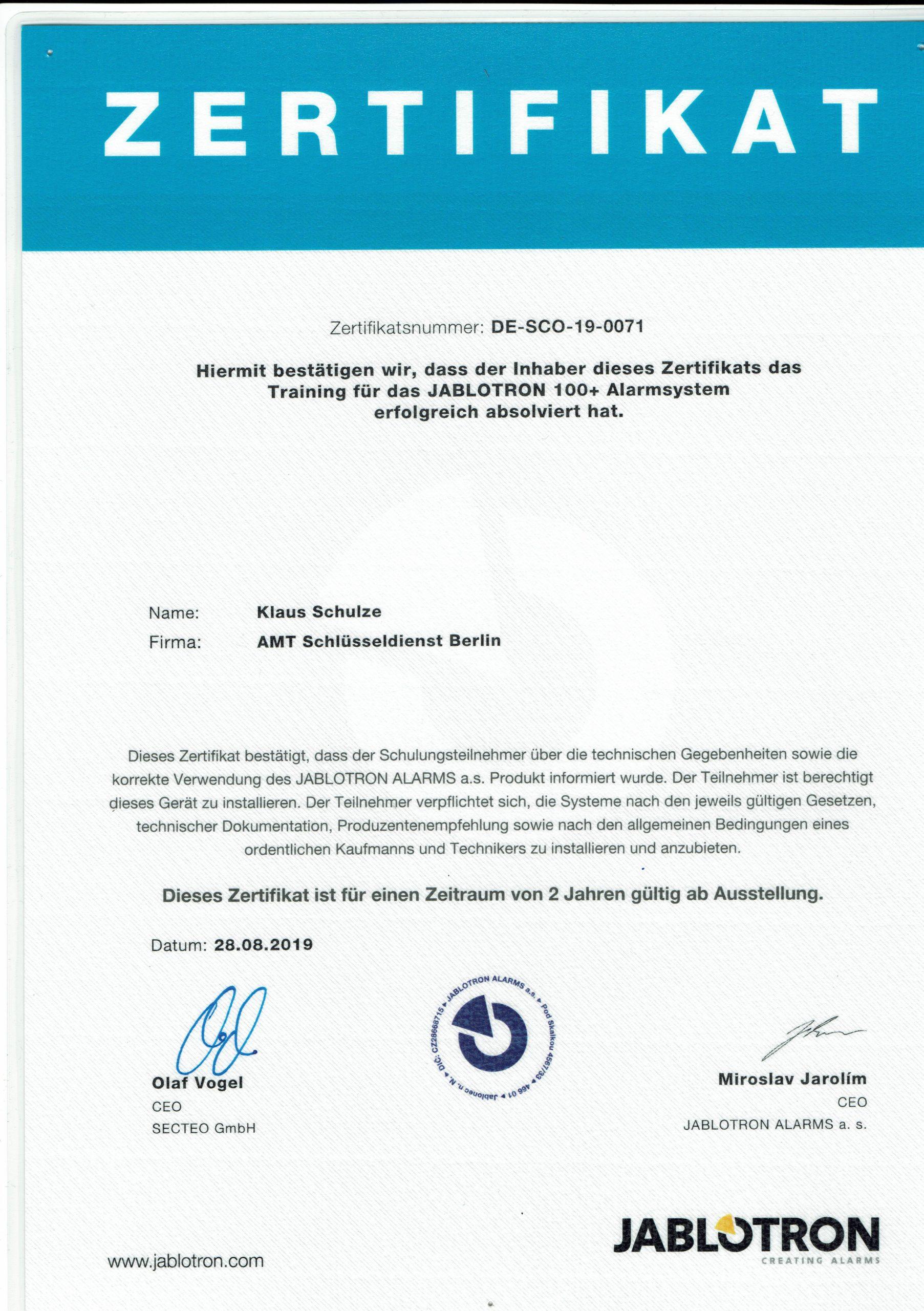 Zertifikat Jablotron